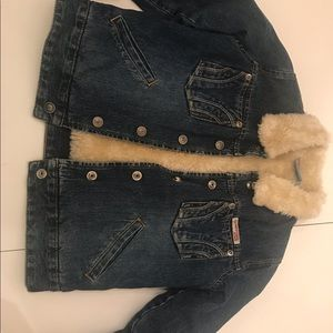 Jean jacket with white cream color